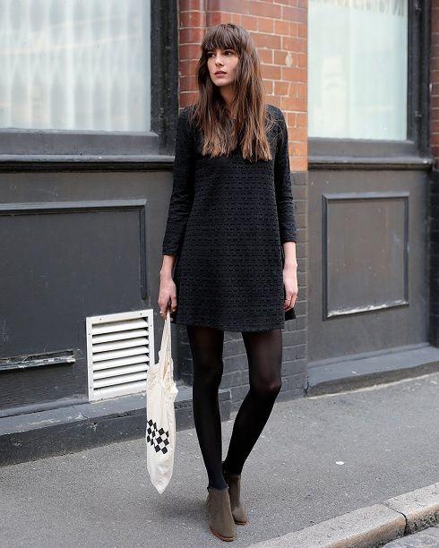 Comment bien porter la robe pull - Quelles chaussures avec une combinaison noire ...