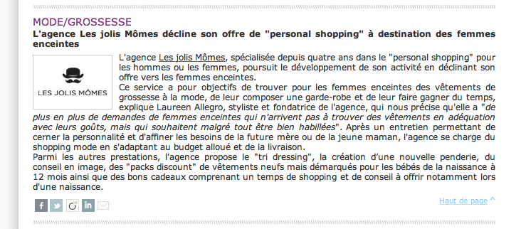 Presse – ActuBaby – Personal shopper de grossesse